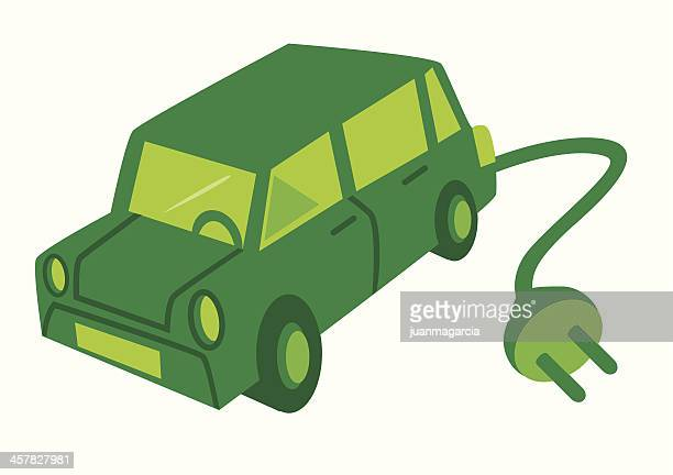 electric car with a green plug. - compact car stock illustrations, clip art, cartoons, & icons