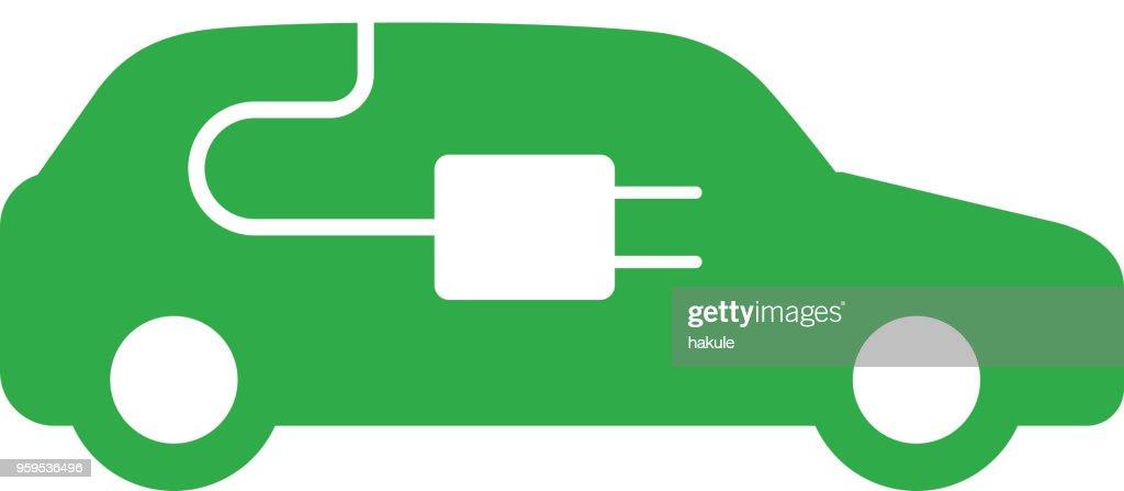 Elektro-Auto mit aufladen Station-Symbol : Stock-Illustration