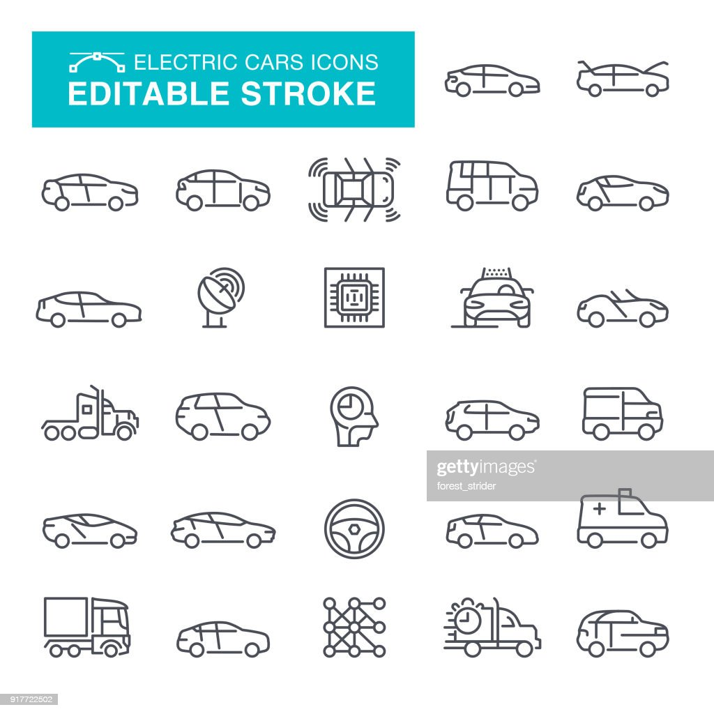 Electric Cars Editable Stroke Icons