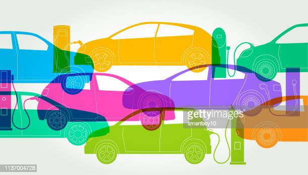 electric cars or automobiles - domestic car stock illustrations