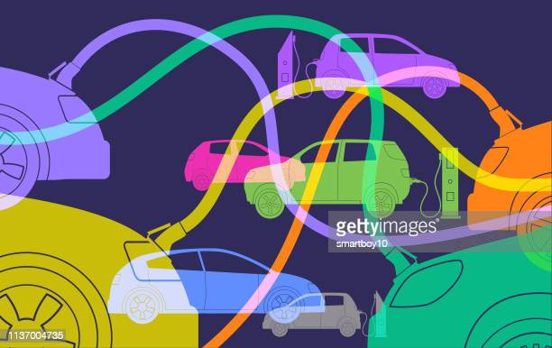 electric cars or automobiles - hybrid vehicle stock illustrations