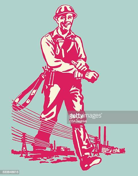 ilustraciones, imágenes clip art, dibujos animados e iconos de stock de trabajador de la compañía eléctrica de paso en líneas de potencia - electricista