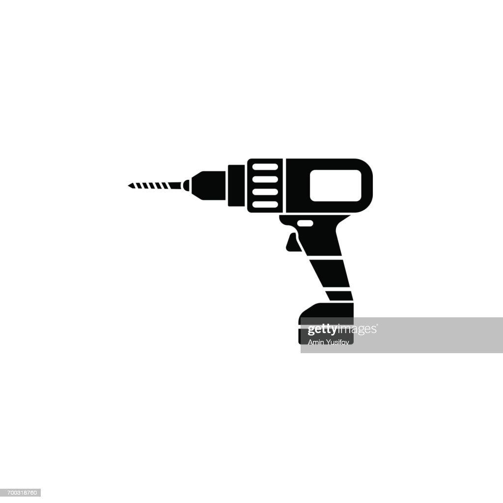 Elektrische Bohrmaschine Solide Symbol Build Reparatur Vektorgrafik ...