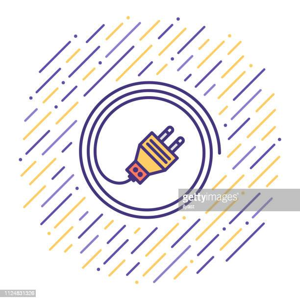 Electric Energy Consumption Flat Line Icon Illustration