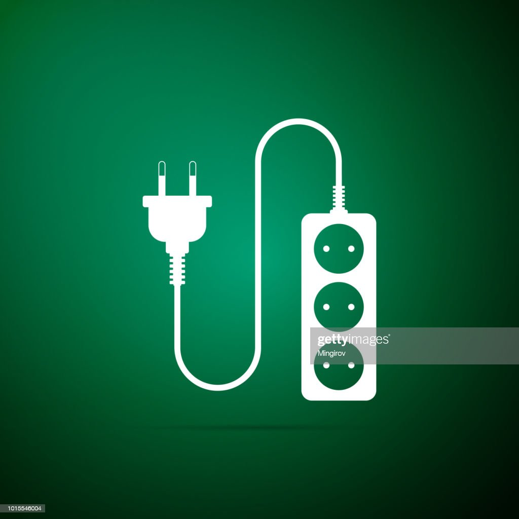Electric extension cord icon isolated on green background. Power plug socket. Flat design. Vector Illustration