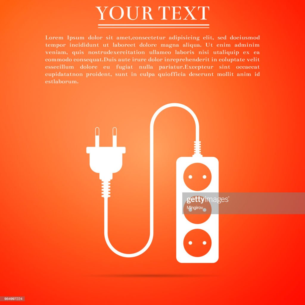 Electric extension cord icon isolated on orange background. Power plug socket. Flat design. Vector Illustration