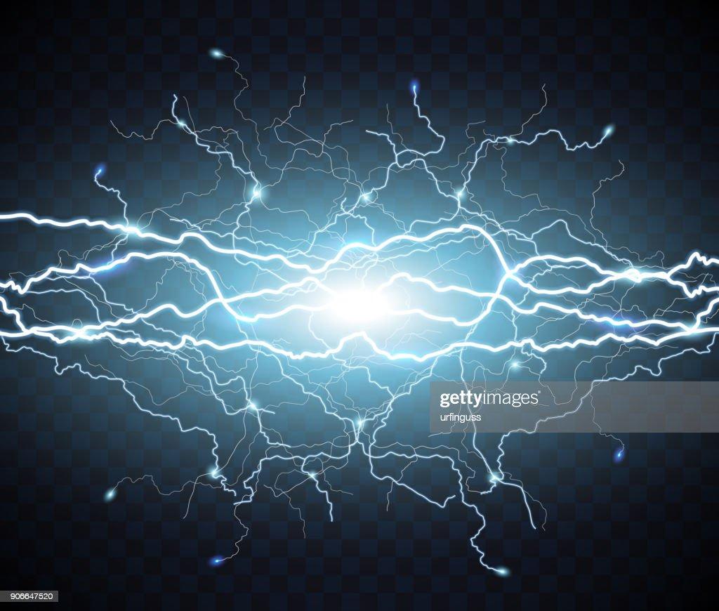 Electric flash of lightning. light thunder