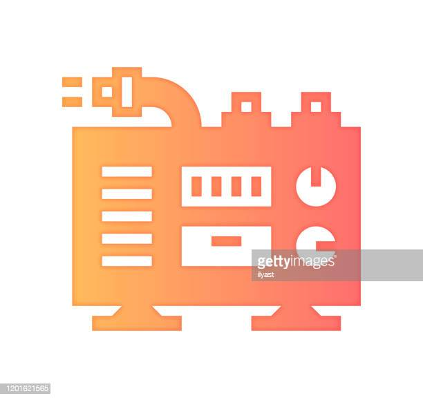 electric generator gradient fill color & paper-cut style icon design - generator stock illustrations