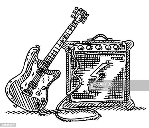 Electric Guitar And Amplifier Drawing
