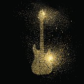 Electric Guitar gold glitter art concept symbol