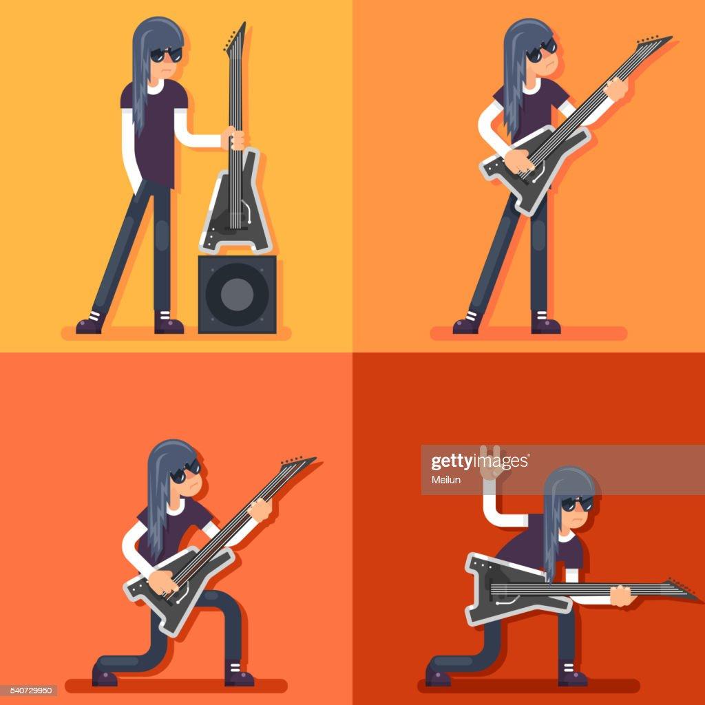 Electric Guitar Icon Guitarist Hard Rock Heavy Folk Music Background
