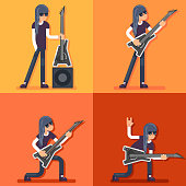 Electric Guitar Icon Guitarist Hard Rock Heavy Folk Music Background