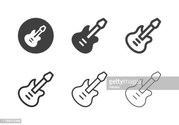 ilustraciones, imágenes clip art, dibujos animados e iconos de stock de iconos de guitarra eléctrica - multi series - bajo eléctrico