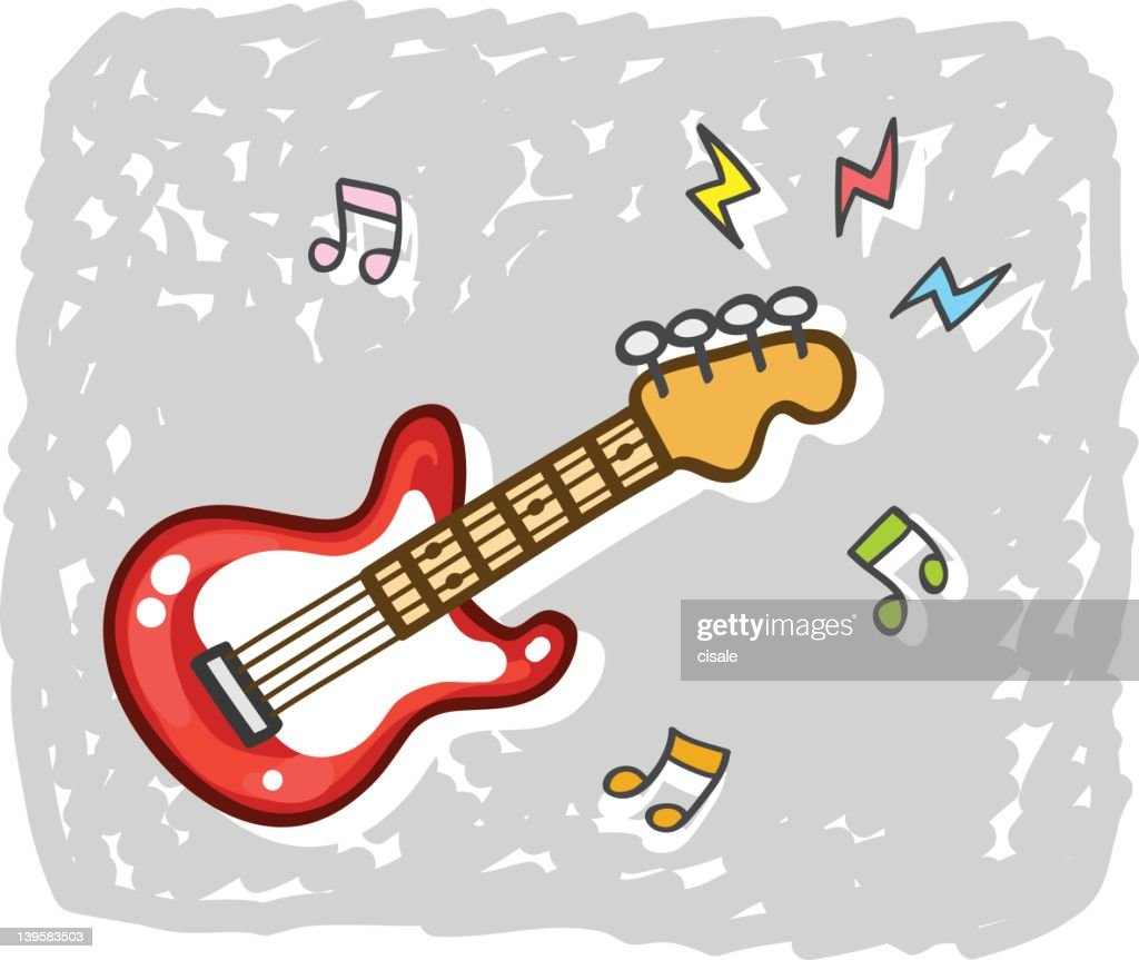 electric guitar music illustration cartoon