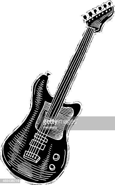 electric guitar reverse ink - electric guitar stock illustrations