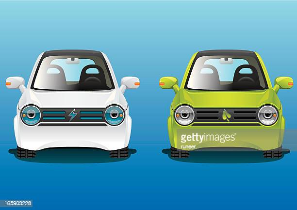 electric & hybrid cars | fantasticon series - compact car stock illustrations, clip art, cartoons, & icons