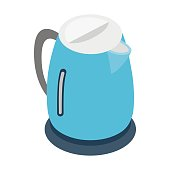 Electric kettle icon, isometric 3d style