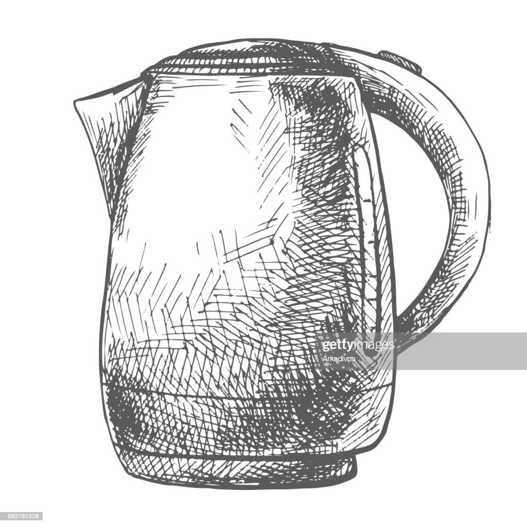 Electric kettle isolated on white background. Vector illustration of a sketch style.