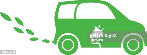 electric leaf car - electric car stock illustrations, clip art, cartoons, & icons