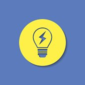 Electric light bulb vector flat icon