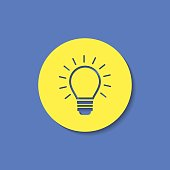 Electric light bulb with rays vector flat icon