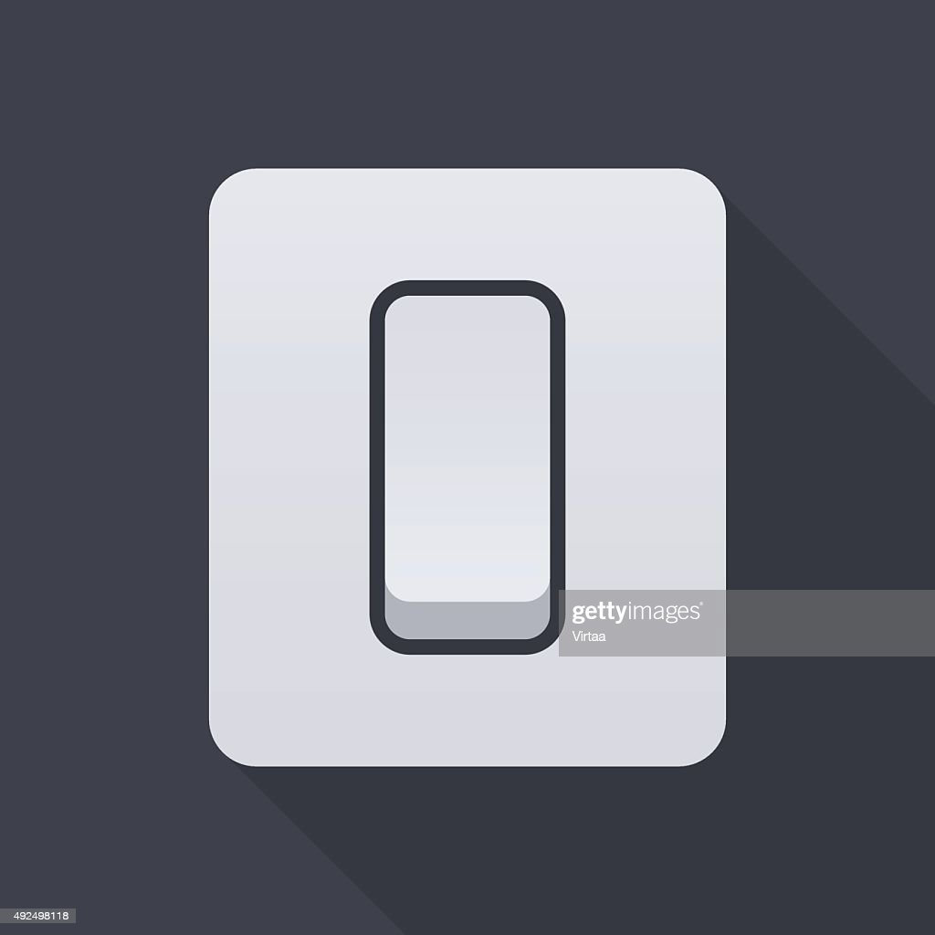 Electric light switch icon, modern minimal flat design style