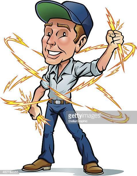 ilustraciones, imágenes clip art, dibujos animados e iconos de stock de hombre eléctrico - electricista