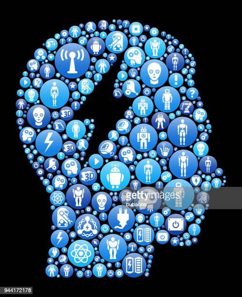 Elektrische Geist blaues Symbol Muster Hintergrund