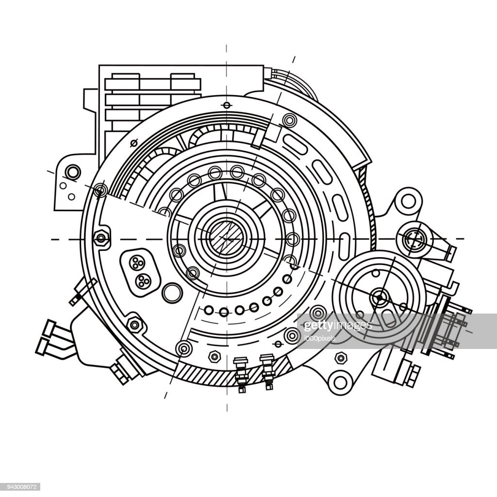 Electric motor section representing the internal structure and mechanisms. It can be used to illustrate the ideas related to science, engineering design and high-tech