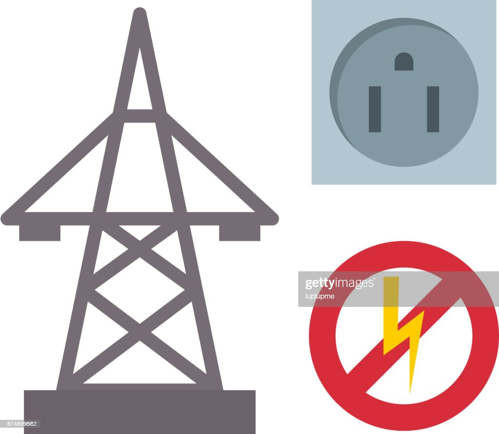 Electric outlet illustration energy socket electrical plug european appliance interior vector icon