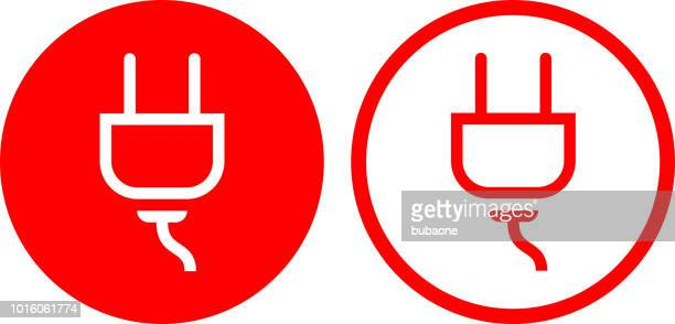 ilustraciones, imágenes clip art, dibujos animados e iconos de stock de energía eléctrica de salida plug icono - enchufe