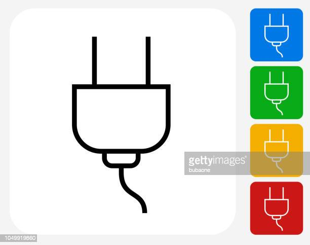 electric outlet power plug icon - electric plug stock illustrations
