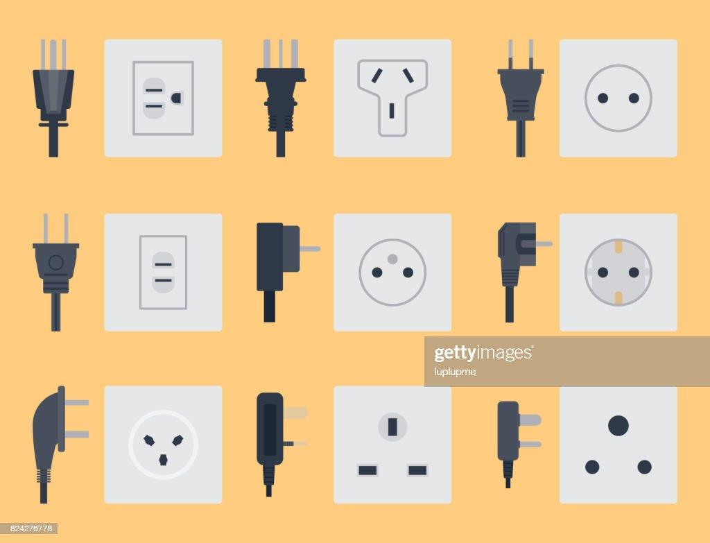 Elektrische Steckdose Vektor Illustration Energie Elektrische ...