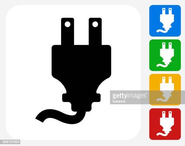 ilustraciones, imágenes clip art, dibujos animados e iconos de stock de enchufe de iconos planos de diseño gráfico - electricista