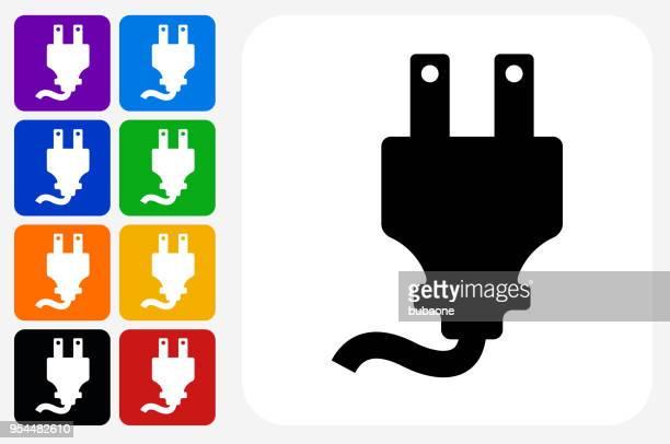 ilustraciones, imágenes clip art, dibujos animados e iconos de stock de conjunto de botón eléctrico plug icono cuadrado - electricista