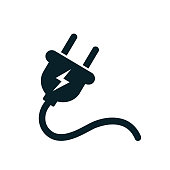 Electric plug icon with cord – stock vector