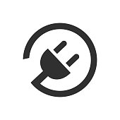 Electric plug icon with cord – vector