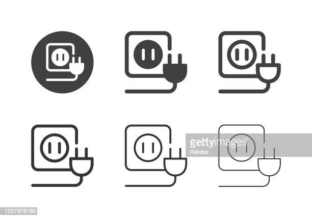 electric plug icons - multi series - electricity stock illustrations