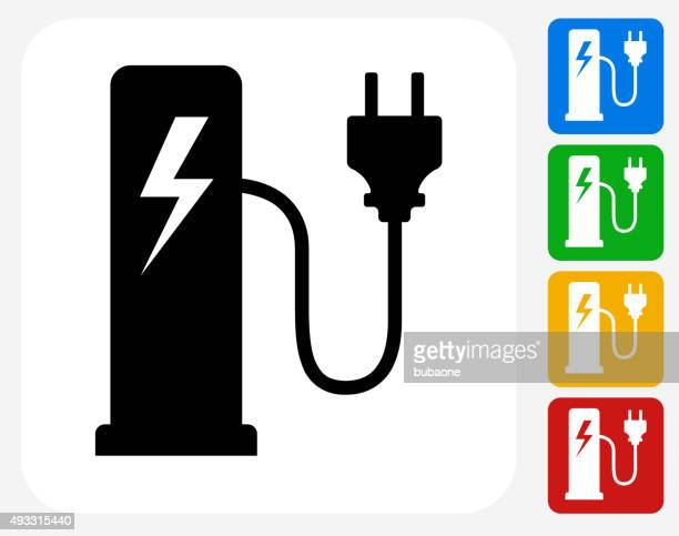 electric plug station icon flat graphic design - fuel station stock illustrations, clip art, cartoons, & icons