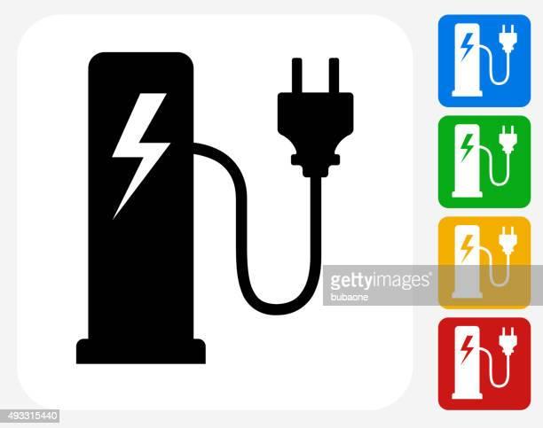 electric plug station icon flat graphic design - electric plug stock illustrations, clip art, cartoons, & icons
