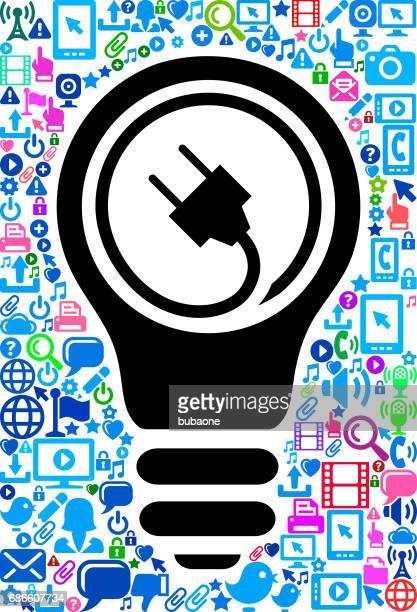 ilustraciones, imágenes clip art, dibujos animados e iconos de stock de enchufe eléctrico tecnología web vector patrón de fondo - electricista
