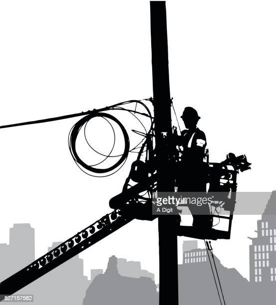 electric poles maintenance - steel cable stock illustrations, clip art, cartoons, & icons