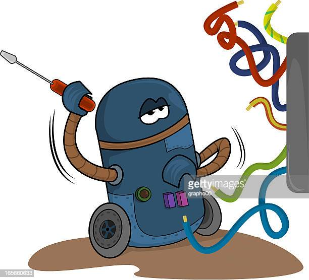 electric robot - phone cord stock illustrations, clip art, cartoons, & icons