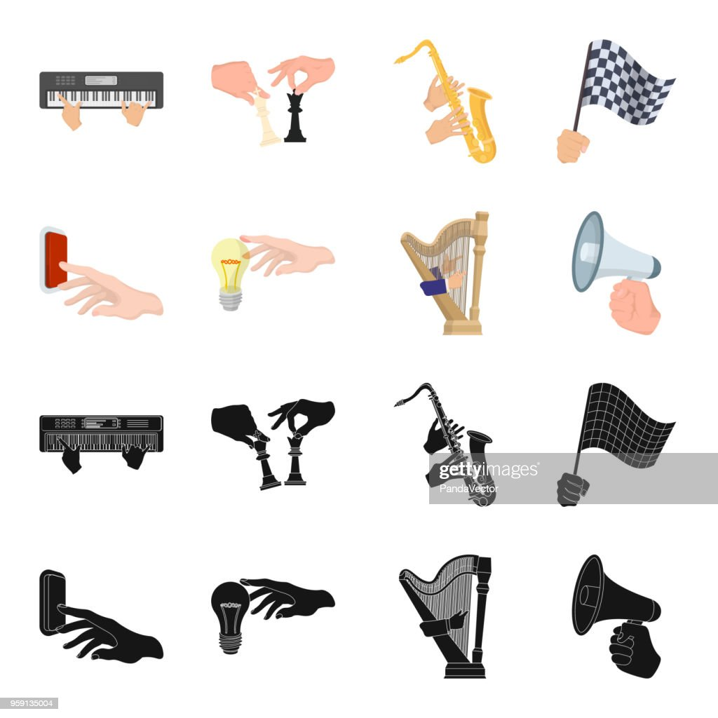 Electric switch button, incandescent lamp and other web icon in black,cartoon style. harp playing, Megaphone in hand icons in set collection.