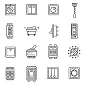 Electric switches icons set. Editable stroke.