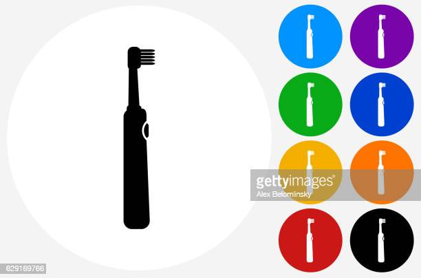 electric toothbrush icon on flat color circle buttons - electric toothbrush stock illustrations