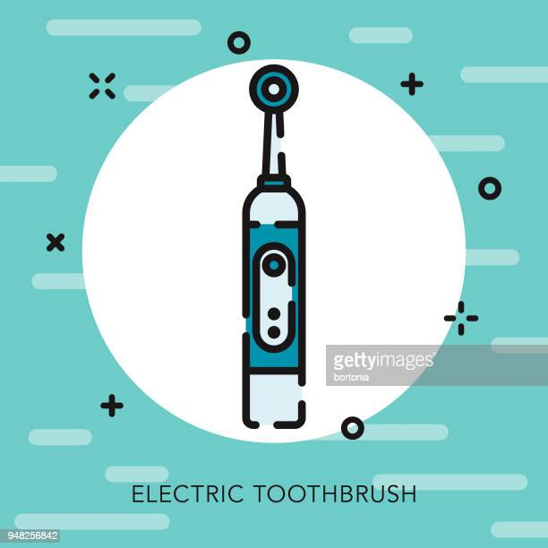 electric toothbrush open outline dentist icon - electric toothbrush stock illustrations