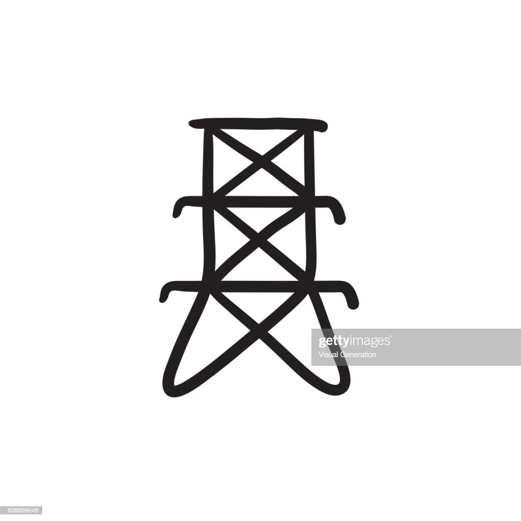 Electric tower sketch icon