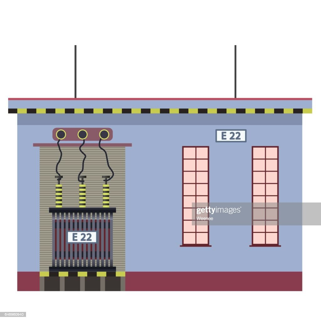 Electric transformer 2D building info graphic. High-voltage power station.