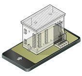 Electric transformer isometric building in mobile phone. Outlined 3d planning of vector high-voltage power station in communication technology.